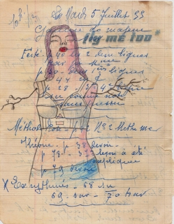Original page of a 1954 French Copy Book, Drawing, Ink, Tissue.