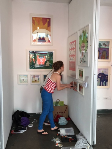 Hanging the work