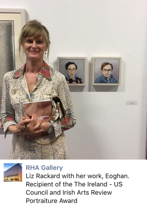RHA Gallery Liz Rackard with her work, Eoghan. Recipient of The Ireland -US Council and Irish Arts review Portraiture Award.
